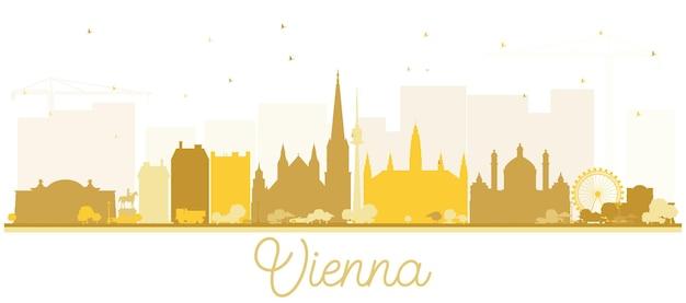 Wien österreich city skyline silhouette mit goldenen gebäuden, isolated on white. vektor-illustration. geschäftsreise- und tourismuskonzept mit historischer architektur. wiener stadtbild mit wahrzeichen.