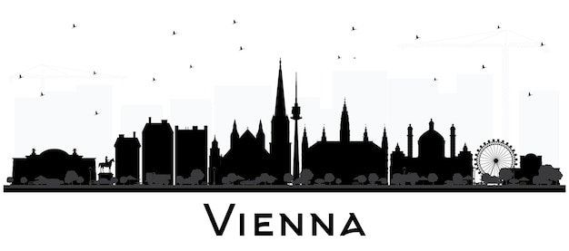 Wien österreich city skyline silhouette mit schwarzen gebäuden, isolated on white. vektor-illustration. geschäftsreise- und tourismuskonzept mit historischer architektur. wiener stadtbild mit wahrzeichen.
