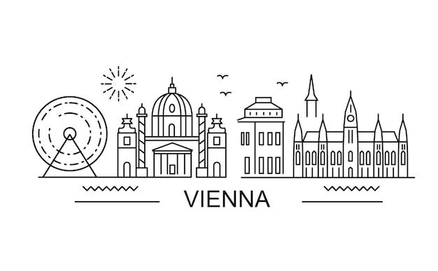 Wien skyline banner linienstil.