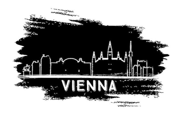 Wiener skyline-silhouette. handgezeichnete skizze. vektor-illustration. geschäftsreise- und tourismuskonzept mit moderner architektur. bild für präsentationsbanner-plakat und website.