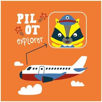 Wiesel der kleine pilot lustige tierkarikatur