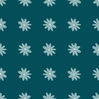 Wiesenbotanik nahtloses muster mit dekorativem blumengänseblümchendruck. türkisblauer blumenhintergrund. grafikdesign für packpapier und stofftexturen. vektor-illustration.