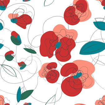 Wiesenmohn nahtlose blümchenmuster. sommergarten retro-textur. vektorhandzeichnung landschaftsmuster. frühlingsblumenvektorillustration. weißer hintergrund. millefleur strichzeichnungen