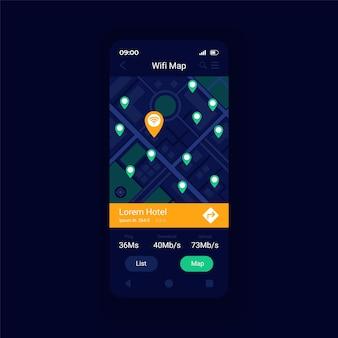 Wifi-hotspot-standortkarten-app smartphone-schnittstellenvektorvorlage. design-layout für mobile apps. wlan-zugangspunkte rund um den weltkartenbildschirm. flache benutzeroberfläche für die anwendung. telefondisplay