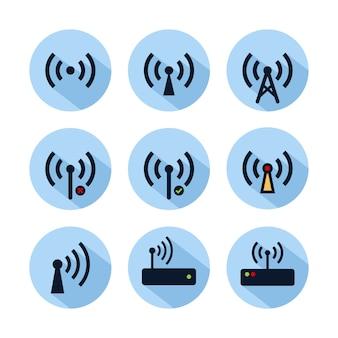 Wifi-krisenherdikonensatz lokalisiert auf blauem kreis. hotspot-verbindungssymbol für web und handy
