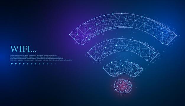 Wifi-netzwerksymbol low-poly-abstraktes wi-fi-zeichen