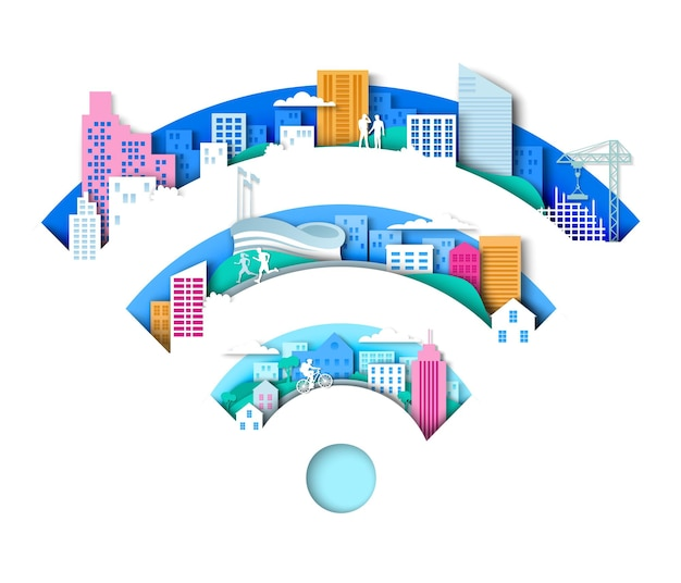 Wifi-schild mit city-elementen-vektor-illustration im papierkunststil drahtlose internetverbindung tec...