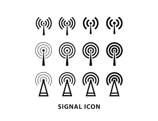 Wifi-signal mit antennen-icon-set