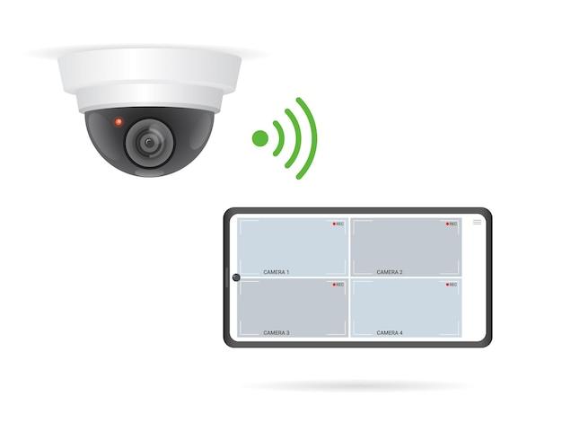 Wifi-überwachungskamera und smartphone-app zum anzeigen von aufnahmen