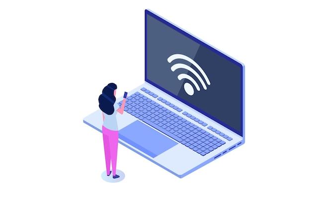 Wifi-verbindungskonzept. remote verbundene geräte. vektor-illustration.