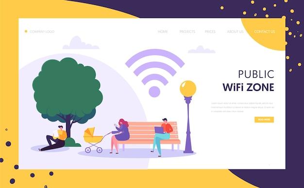 Wifi wireless network landing page vorlage. öffentliche wi-fi-zone im park mit charakteren, die mobile geräte für websites oder webseiten verwenden.