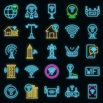 Wifi zone icons set vektor neon