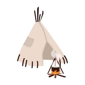 Wigwam, wickiup oder wetu. traditionelle stammeswohnung der indigenen völker amerikas und lagerfeuer isoliert auf weißer oberfläche