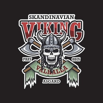 Wikinger-emblem auf dunklem hintergrund. farbig. skandinavisches thema