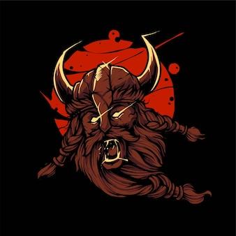 Wikinger krieger illustration, perfekt für t-shirt, bekleidung oder merchandise design