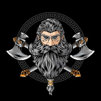 Wikinger krieger mit axt logo