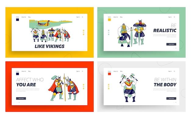 Wikinger landing page template set Premium Vektoren