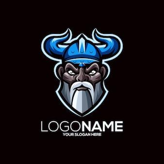 Wikinger logo design isoliert auf schwarz