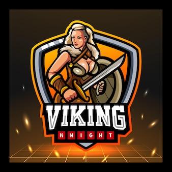 Wikinger-mädchen-maskottchen-esport-logo-design