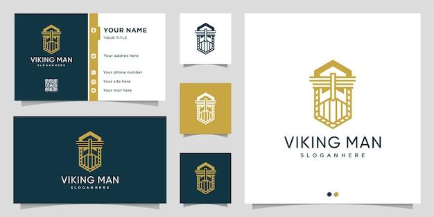 Wikinger mann logo mit strichgrafik stil und visitenkarte design-vorlage