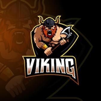 Wikinger-maskottchen-logo-design-vektor mit modernem illustrationskonzept für abzeichen, emblem und t-shirt-druck. illustration eines wikingers, der eine axt für sport, spiel oder team trägt