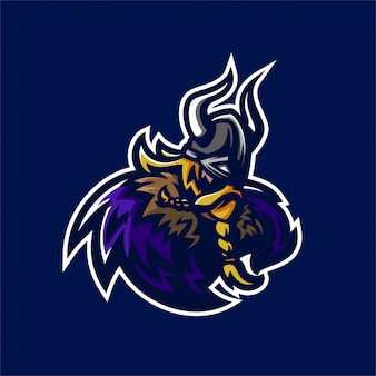 Wikinger ritter esport gaming maskottchen logo vorlage
