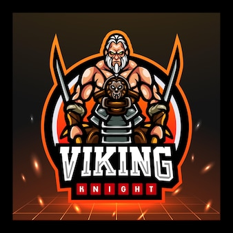 Wikinger-ritter-maskottchen-esport-logo-design