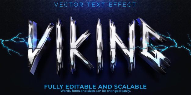 Wikinger-texteffekt, bearbeitbarer nordischer und blitzartiger textstil