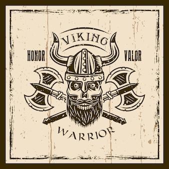 Wikingerbärtiger schädel und achsenvektor braunes emblem, etikett, abzeichen oder t-shirt-druck auf hintergrund mit grunge-texturen