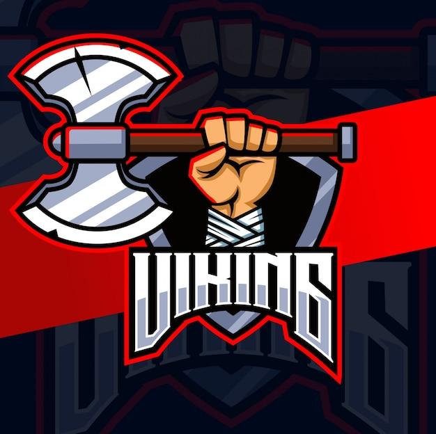 Wikingerhand mit axt maskottchen esport logo design