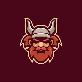 Wikingerkopf cartoon logo vorlage illustration esport logo gaming premium vektor