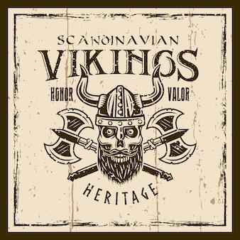 Wikingerschädel und gekreuzte achsen vector braunes emblem, etikett, abzeichen oder t-shirt-druck auf dem hintergrund mit grunge-texturen