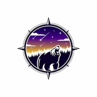 Wild bear logo outdoor abenteuer