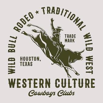 Wild bull rodeo für grafikdruck