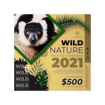 Wild natur quadratische flyer vorlage