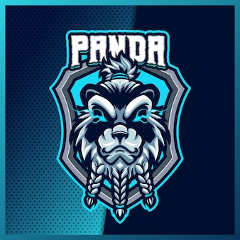 Wild panda esport- und sportmaskottchen-logo-design mit modernem illustrationskonzept für team-, abzeichen-, emblem- und t-shirt-druck. bärenillustration auf isoliertem hintergrund