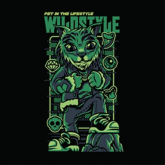 Wild style lynx cat illustration Premium Vektoren
