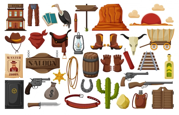 Wild-west-cartoon-set-symbol. illustration westlich auf weißem hintergrund. isolierte karikatursatzikone wilder westen.