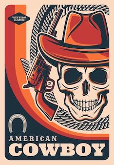 Wild west cowboy schädel, american western texas