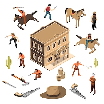 Wild-west-cowboys und indianer mit waffen-sheriff-gebäude des isometrischen satzes des salons isoliert
