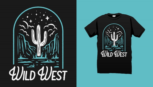 Wild west desert t-shirt design