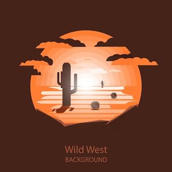 Wild-west-landschaft. kaktus und tumbleweed unter sonne in der trockenen wüste.