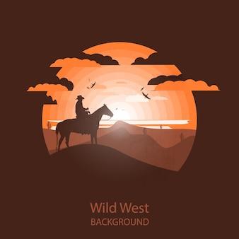 Wild-west-landschaft. westliche szene. negative platzabbildung