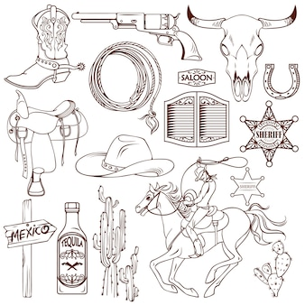 Wild west monochrom set