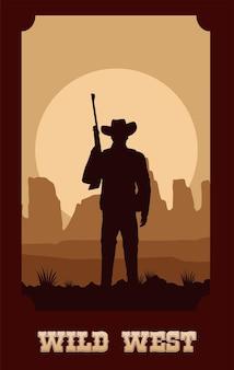 Wild-west-schriftzug im plakat mit cowboy und gewehr