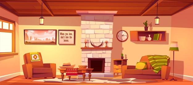 Wild west wohnzimmer leer westlichen stil interieur