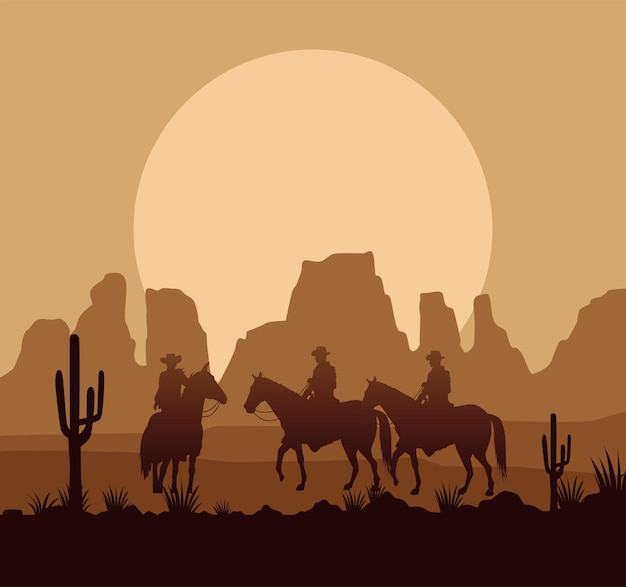 Wild west wüsten-sonnenuntergangsszene mit cowboys und pferden