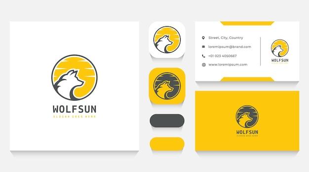 Wild wolf logo vorlage und visitenkarte