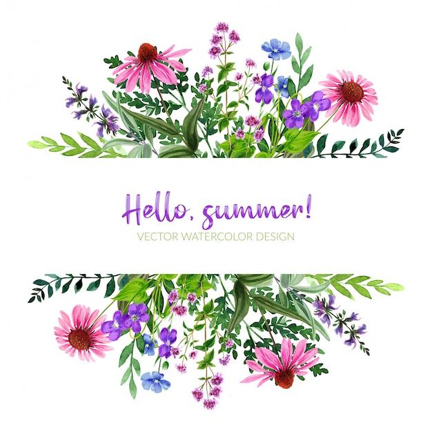 Wildblumen-banner mit feldblumen, rosa und violett