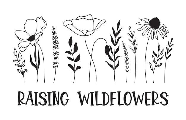 Wildblumen-svg-design anheben